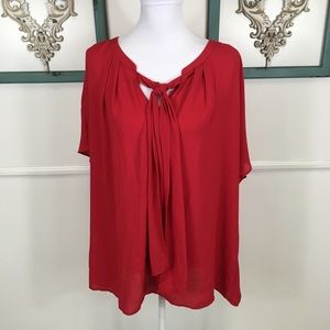 Lane Bryant Red Pussy Bow Blouse Womens Plus 24